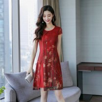 Dress Summer of 2019 Green, red S,M,L,XL,2XL,3XL Mid length dress Short sleeve commute Crew neck Decor Socket Other / other AS08-1 91% (inclusive) - 95% (inclusive) silk