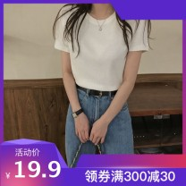 T-shirt Black, white, green, orange, brick red, yellow XL,L,M,XXL Summer 2021 Short sleeve Crew neck Self cultivation Regular routine commute polyester fiber 96% and above 18-24 years old Solid color Sarhman / Satman imenggc15026988786018 Solid color