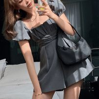 Jumpsuit / pants 30% and below shorts cotton High waist commute Show thin black, temperament gray S,M,L routine Summer 2021 A528 Same model in shopping mall (sold online and offline)