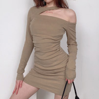 Dress Spring 2021 Grey, Khaki Average size Short skirt singleton  Long sleeves commute High waist Solid color Socket One pace skirt routine Hanging neck style 18-24 years old Hollowing out ROVKD00313 31% (inclusive) - 50% (inclusive) cotton