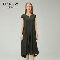Dress Spring of 2018 Army green S M L Mid length dress singleton  Short sleeve street Crew neck Loose waist Solid color Socket Others 35-39 years old Type H Leedow / Ledo 8L17BG-L40715- More than 95% polyester fiber Polyester 100%