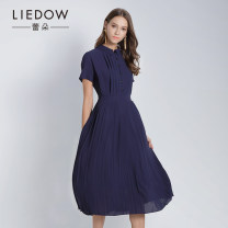 Dress Summer of 2018 Dark blue orange S M L XL XXL Mid length dress Short sleeve commute other middle-waisted Solid color A-line skirt 35-39 years old Type A Leedow / Ledo lady 8F1IBZ-L15147- More than 95% polyester fiber Polyester 100%
