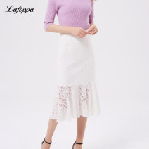 skirt Autumn 2020 S M L XL White lace black lace Mid length dress commute High waist Fairy Dress Solid color Type H 25-29 years old 51% (inclusive) - 70% (inclusive) Lace Milan foppa nylon Cut out lace Same model in shopping mall (sold online and offline)