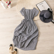 Dress Summer 2021 Black and white check M, l longuette singleton  Short sleeve street other middle-waisted lattice Socket A-line skirt Bat sleeve Type A ruins Pleating D6606 81% (inclusive) - 90% (inclusive) cotton Europe and America