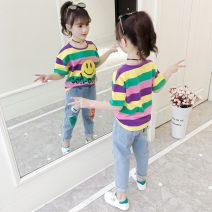 suit Other / other Purple smile T-shirt + jeans Capris, green smile T-shirt + jeans Capris, piggy pink t-shirt + jeans Capris, piggy pink blue T-shirt + jeans Capris, single jeans Capris 110cm,120cm,130cm,140cm,150cm,160cm female spring and autumn Korean version other 2 pieces routine Socket nothing