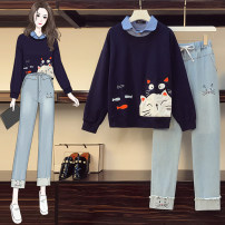 Women's large Autumn 2020 Suits, tops, pants L [100-120 Jin recommended], XL [120-140 Jin recommended], 2XL [140-160 Jin recommended], 3XL [160-180 Jin recommended], 4XL [180-200 Jin recommended] Other oversize styles Two piece set commute easy moderate Socket Long sleeves Solid color Korean version