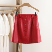 skirt Spring 2021 S,M,L,XL bright red Short skirt commute Natural waist Solid color Type A 25-29 years old More than 95% other Other / other PU Simplicity