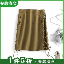 skirt Spring 2021 155,160,165,170 Army green Mid length dress High waist Solid color Type A More than 95% Other / other