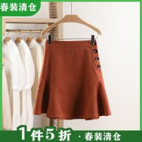 skirt Spring 2021 S,M,L,XL Rust red Short skirt Natural waist Solid color Type A 25-29 years old 91% (inclusive) - 95% (inclusive) Other / other