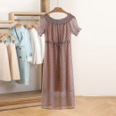 Dress Summer 2021 Caramel S,M,L,XL Mid length dress other Short sleeve Crew neck Socket Type H Other / other 82L722 More than 95% other