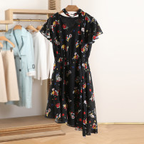 Dress Summer 2021 Black flower XS,S,M,L,XL Mid length dress Short sleeve Socket Other / other CDL2L827 More than 95% other