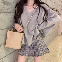 T-shirt Gray, white, purple, blue, black, oats M,L,XL Long sleeves V-neck easy Regular routine commute cotton 51% (inclusive) - 70% (inclusive) 18-24 years old Korean version youth Solid color