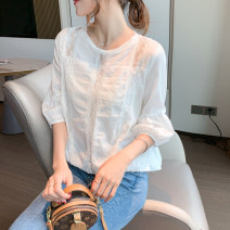 Lace / Chiffon Spring 2021 white S,M,L,XL three quarter sleeve commute Socket singleton  Straight cylinder Crew neck Solid color puff sleeve 18-24 years old X Korean version