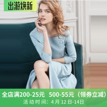 Dress Autumn 2020 Black, light blue S,M,L,XL Mid length dress singleton  three quarter sleeve street One word collar middle-waisted Solid color double-breasted Pencil skirt routine Others IOHAWOG A03339 Europe and America