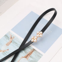Belt / belt / chain Double skin leather female belt Sweet Single loop a hook Glossy surface Glossy surface 1cm alloy alone Other / other
