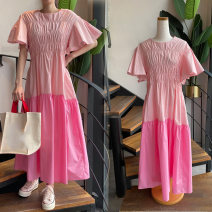 Dress Spring 2021 Blue, pink Average size longuette singleton  Short sleeve commute Crew neck Solid color Socket Flying sleeve Others Korean version 71% (inclusive) - 80% (inclusive) cotton