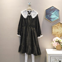 Dress Spring 2021 black L,XL,2XL,3XL,4XL Mid length dress singleton  Long sleeves commute Doll Collar Loose waist other Socket A-line skirt routine 25-29 years old Simplicity 30% and below other polyester fiber