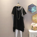 Dress Summer 2021 black Average size Mid length dress singleton  Short sleeve commute Crew neck Loose waist other Socket A-line skirt routine 25-29 years old Korean version 30% and below other polyester fiber