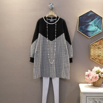 Dress Winter 2020 black L,XL,2XL,3XL,4XL Mid length dress singleton  Long sleeves commute Crew neck Loose waist Solid color Socket One pace skirt routine Others 25-29 years old Type A Korean version 30% and below knitting polyester fiber