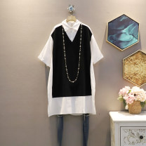 Dress Summer 2021 black Average size Mid length dress singleton  Short sleeve commute Polo collar Loose waist other Socket A-line skirt routine Others 25-29 years old Type A Korean version 30% and below other cotton