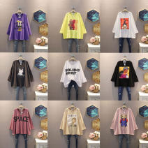 T-shirt Average size Autumn 2020 Long sleeves Crew neck easy Medium length routine commute cotton 30% and below 25-29 years old Korean version originality letter