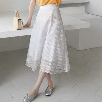 skirt Summer 2020 Average size White, black, grey longuette Versatile Natural waist A-line skirt lattice Type A 25-29 years old More than 95% other nylon