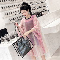 Dress Summer 2020 S,M,L,XL,2XL,3XL,4XL Mid length dress Two piece set elbow sleeve commute Crew neck Loose waist Solid color Socket A-line skirt Petal sleeve Others 18-24 years old Other / other Korean version Bright silk, gauze More than 95% other