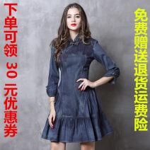 Dress Spring 2020 Tannin S,M,L,XL Middle-skirt singleton  three quarter sleeve commute stand collar Type A Retro W351 Denim cotton