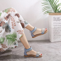 Sandals 36,37,38,39,40,41,42 Black, blue, apricot PU Other / other Toenail Slope heel Low heel (1-3cm) Summer 2021 zipper Korean version Solid color Sewing shoes Youth (18-40 years old) TPR (tendon) daily Rear trip strap Slope heel, string bead Low Gang Lateral space Microfiber skin Microfiber skin