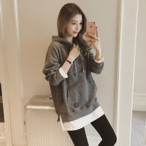 Sweater / sweater Autumn of 2018 Two in grey, two in red, two in black, 664 in black M,L,XL,2XL Long sleeves routine Socket Fake two pieces Plush Hood easy commute routine Korean version Cotton liner