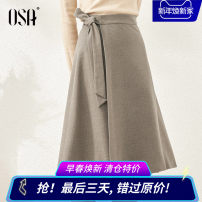 skirt Winter 2020 XS,S,M,L,XL,XXL Brown Mid length dress Versatile High waist Irregular Solid color Type A 25-29 years old S120QD51017 More than 95% OSA other Bandage, resin fixation