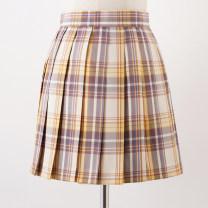 skirt Autumn of 2019 S,M,L,XL Yellow, yellow (mountain Blow lattice skirt 48CM) Short skirt Sweet High waist Pleated skirt lattice 18-24 years old F-036 31% (inclusive) - 50% (inclusive) cotton solar system