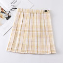 skirt Autumn 2020 S,M,L,XL Duckling 43cm skirt, duckling 48CM skirt Short skirt Sweet High waist Pleated skirt lattice 18-24 years old J-029 college