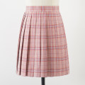 skirt Summer 2020 S,M,L,XL Watermelon red Short skirt Sweet High waist Pleated skirt lattice 18-24 years old 71% (inclusive) - 80% (inclusive) cotton solar system