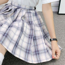 skirt Summer 2020 S,M,L,XL White night neon 43cm skirt, white night neon 48CM skirt Short skirt Sweet High waist Pleated skirt lattice 18-24 years old B-031 71% (inclusive) - 80% (inclusive) cotton college