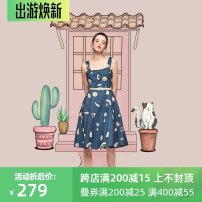 Dress Summer 2020 blue XS,S,M,L,XL Middle-skirt singleton  Sleeveless commute square neck High waist Cartoon animation Socket A-line skirt other straps 25-29 years old Type A JUNGLE ME Retro Embroidery More than 95% Denim cotton