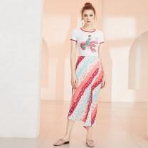 skirt Summer of 2019 XS,S,M,L,XL Decor Middle-skirt commute High waist Flower bud skirt Dot Type H 25-29 years old 19BQ11 More than 95% JUNGLE ME polyester fiber Fold, asymmetric Retro