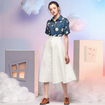 skirt Summer of 2018 XS,S,M,L,XL white Mid length dress Retro High waist Umbrella skirt Solid color Type A 25-29 years old M18BQ010 More than 95% JUNGLE ME polyester fiber