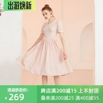 Dress Summer of 2019 Pink XS,S,M,L,XL Middle-skirt singleton  Short sleeve commute V-neck High waist Dot zipper A-line skirt puff sleeve Others 25-29 years old Type X JUNGLE ME Retro Pleating More than 95% polyester fiber