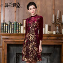 Dress Autumn of 2018 Ancient Chinese Red 3 ancient elegant purple 2 silver Twilight Black 5 M L XL 2XL 3XL 4XL Middle-skirt singleton  Nine point sleeve commute stand collar middle-waisted Decor zipper A-line skirt routine Others 40-49 years old Type A Famous orchid family Korean version MQZ35C5110
