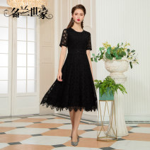 Dress Spring 2021 Black 9 red 11 M L XL 2XL 3XL Middle-skirt singleton  Short sleeve commute Crew neck Solid color zipper A-line skirt routine Others 35-39 years old Famous orchid family Simplicity Three dimensional decorative lace inlaid with diamond MQZ09A6892 30% and below Lycra Lycra