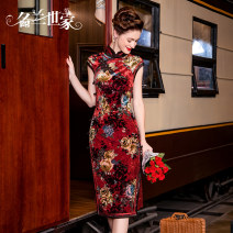 cheongsam Autumn 2020 M L XL 2XL Red 49 olive green 51 130cm skirt length red 49A 130cm skirt length olive green 51A other long cheongsam Retro Low slit wedding Round lapel Big flower Over 35 years old Piping MQP03C6551 Famous orchid family polyester fiber Pure e-commerce (online only)