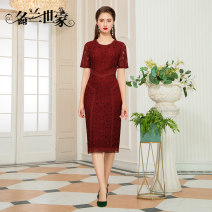 Dress Spring 2021 Red 11 Black 9 M L XL 2XL 3XL Middle-skirt singleton  Short sleeve commute Crew neck middle-waisted Solid color zipper Pencil skirt routine Others 35-39 years old Famous orchid family Simplicity Three dimensional decoration of inlaid diamond and crochet MQZ09A6893 30% and below