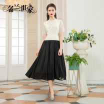 Dress Spring 2021 White 10 Black 9 red 11 M L XL 2XL Mid length dress singleton  Short sleeve commute Crew neck middle-waisted Solid color zipper A-line skirt routine Others 35-39 years old Famous orchid family Simplicity Three dimensional decoration with inlaid diamond MQZ09A6971 30% and below nylon