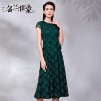 Dress Spring 2020 Peacock green 150 M L XL 2XL Middle-skirt singleton  Short sleeve commute Crew neck middle-waisted Solid color Socket A-line skirt Wrap sleeves Others 35-39 years old Famous orchid family Simplicity Three dimensional decorative beaded lace MQZ09A6316 More than 95% Lace