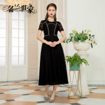Dress Spring 2021 Black 9 M L XL 2XL Mid length dress singleton  Short sleeve commute Crew neck middle-waisted Solid color zipper A-line skirt routine Others 35-39 years old Famous orchid family Simplicity Hollow stitching 30% and below nylon Pure e-commerce (online only)