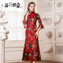 Dress / evening wear Wedding party company annual meeting performance date M L XL 2XL Lanhui Huahong 109 Caihui Huahei 110 grace longuette middle-waisted Autumn of 2019 A-line skirt stand collar zipper spandex 36 and above MLF10C5259.. three quarter sleeve Diamond ornament Decor Famous orchid family