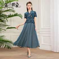 Dress / evening wear Wedding party company annual meeting date M L XL 2XL grace longuette middle-waisted Spring 2021 A-line skirt U-neck zipper 36 and above Solid color Famous orchid family routine Polyamide fiber (nylon) 100% Pure e-commerce (online only)
