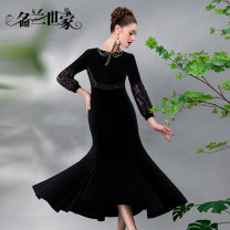 Dress / evening wear Wedding party company annual meeting date M L XL Black 1 Retro longuette middle-waisted Winter 2020 fish tail U-neck zipper spandex 36 and above MLF01D6852 Solid color Famous orchid family Polyester 92.1% polyurethane elastic fiber (spandex) 7.9% Pure e-commerce (online only)