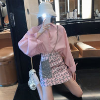 Fashion suit Spring 2021 S,M,L,XL Pink shirt with skirt, pink shirt, skirt 18-25 years old 31% (inclusive) - 50% (inclusive) polyester fiber